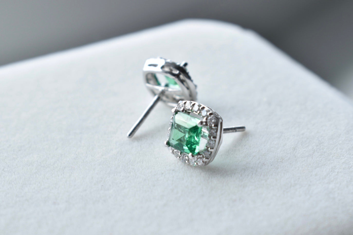 Lab Grown Princess-Cut Emerald Stud Earrings with Diamond Halo in 18K White Gold