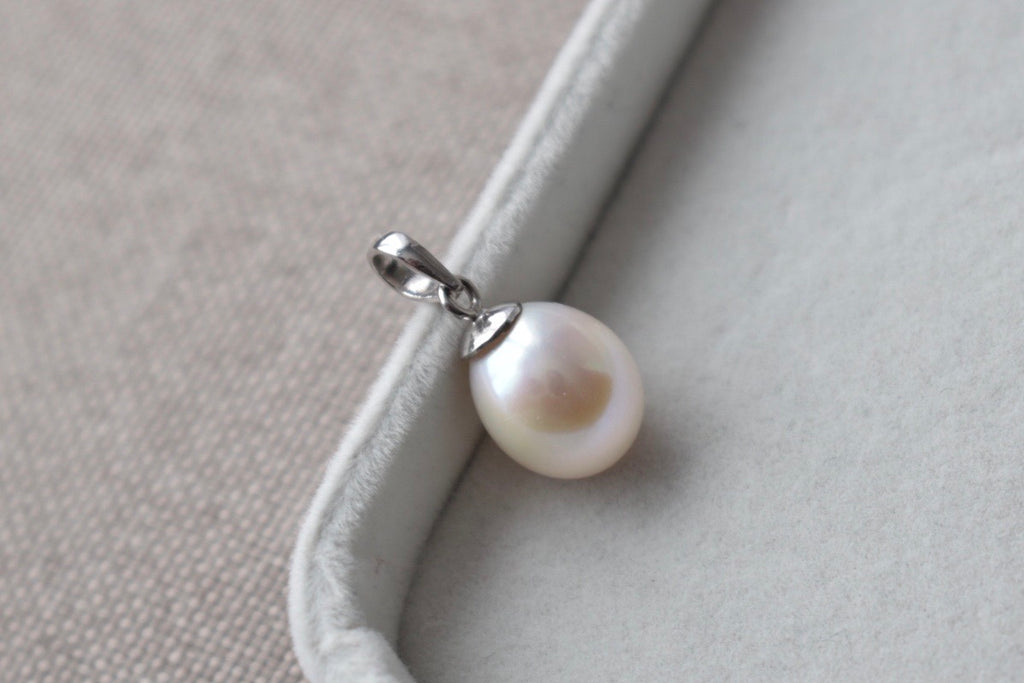 White Freshwater Pearl Drop Pendant in 10K White Gold, 10.50mm