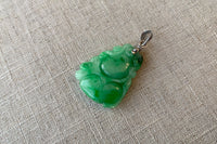 Natural Translucent Green Jadeite Jade Double-Sided Gourd Pendant in 10K White Gold