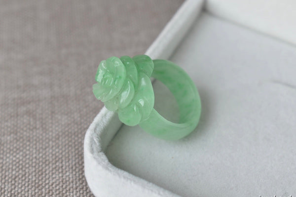 Natural Icy Green Jadeite Jade Flower Ring - Size 7.5 US