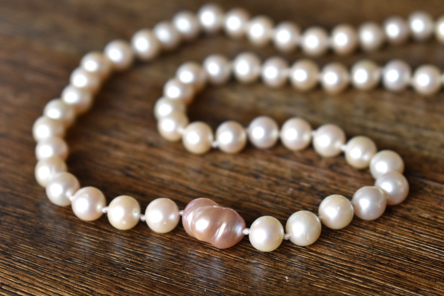 Pink Heart-Shaped Baroque and White Round Freshwater Pearl Necklace, 7.5-8mm