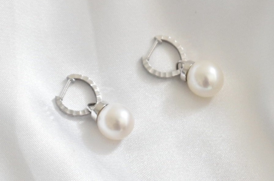 White Freshwater Pearl Dangle Earrings with Detachable Hoops in 18K White Gold, 10mm