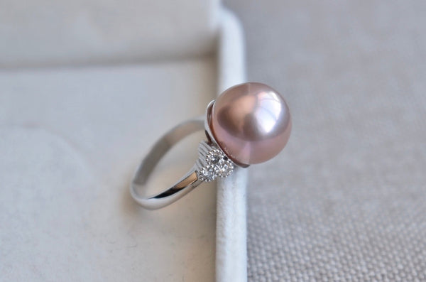 Metallic Pink Freshwater Pearl and Diamond Ring