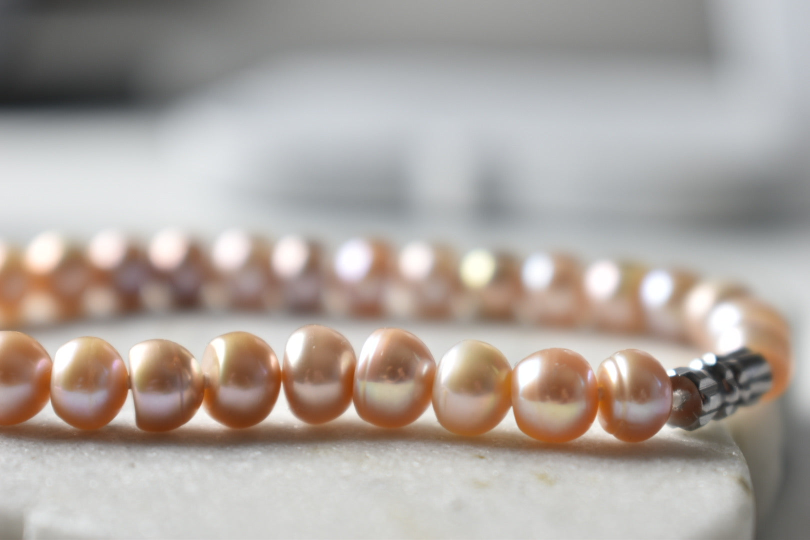 Pink Freshwater Button Pearl Bracelet, 6.5-7.0mm