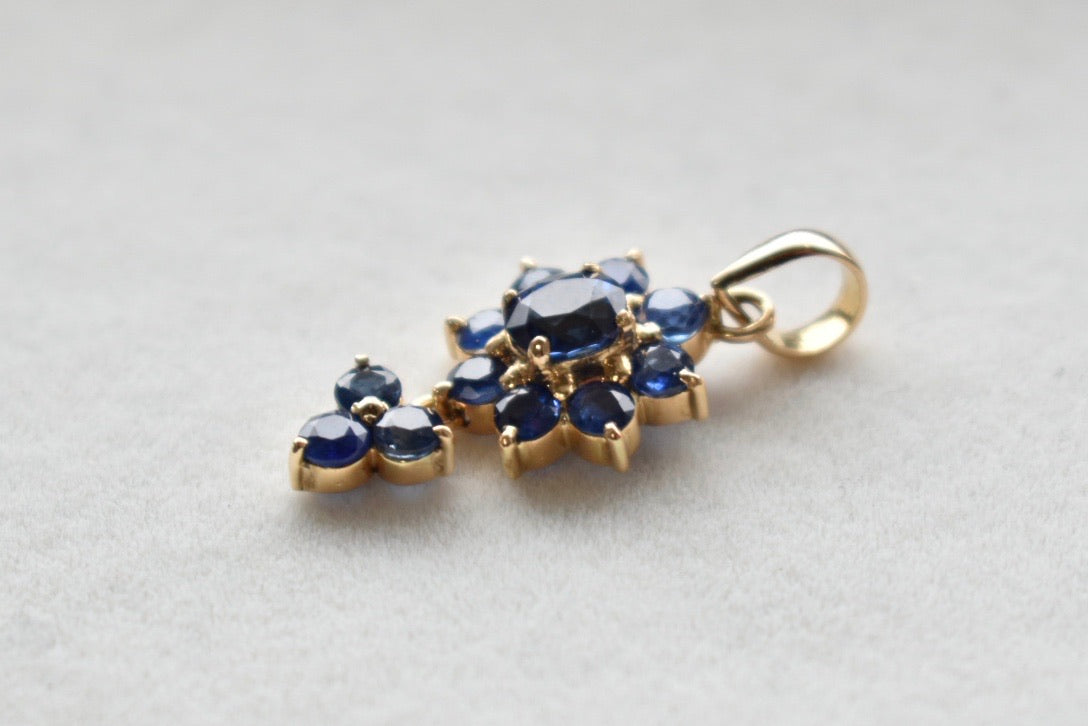 Natural Blue Sapphire Cluster Dangle Pendant in 14K Yellow Gold