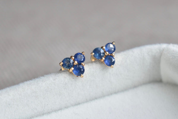 Blue Sapphire Cluster Earrings in 14K Yellow Gold