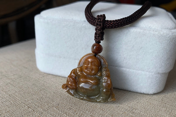 Natural Translucent Russet Honey Brown + Bluish Green Happy Buddha Pendant Necklace