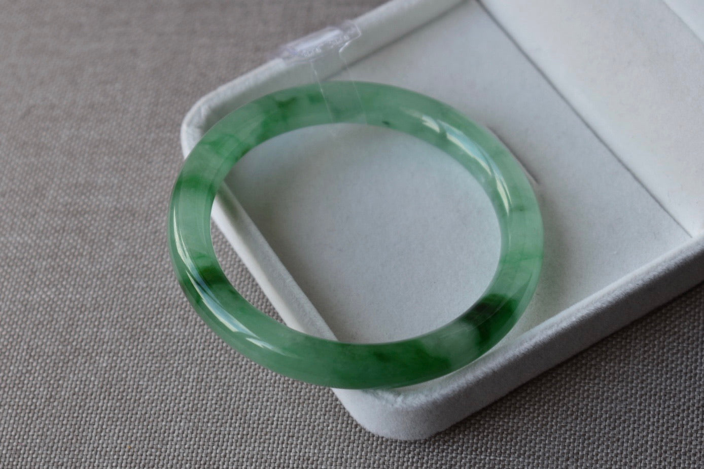60.17mm Natural Translucent Light Green + Vivid Green + Black Jadeite Jade Round Bangle