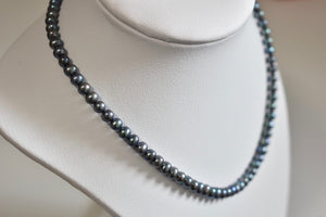 Peacock Black Freshwater Oval Pearl Necklace, 5.50-6.0mm