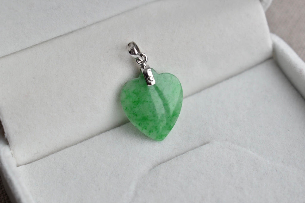 Natural Translucent Mottled Green Jadeite Jade Heart Pendant in 10K White Gold
