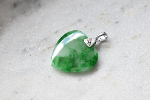 Grade A Jadeite Jade Icy Moss In Snow Heart and 0.03ct Diamond Pendant in 14K White Gold
