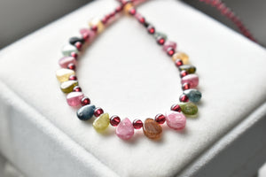 Multicolor Natural Tourmaline Almond and Round Bead Necklace