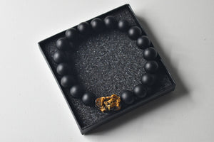 Natural Tiger Eye Pixiu/Pi Yao and Matte Black Obsidian Bead Bracelet, 12mm