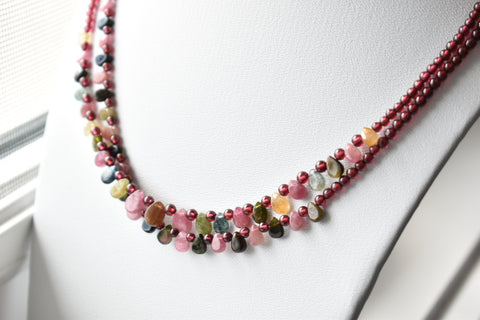 Multicolor Natural Tourmaline Stacking Necklaces (Set of 2)