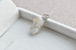 Natural Translucent White + Russet Honey Brown Jadeite Jade And Diamond Pixiu Pendant in 14K White Gold