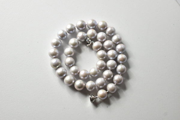 Silver Gray Freshwater Edison Pearl Necklace, 10.5-11.5mm