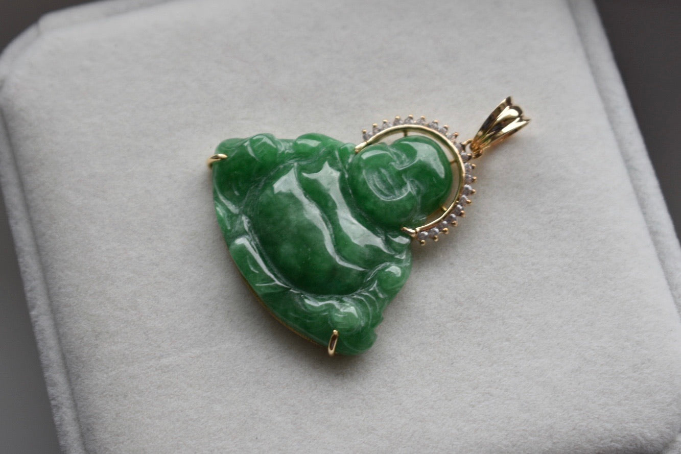 Natural Imperial Green Jadeite Jade and Moissanite Happy Buddha Pendant in 18K Yellow Gold