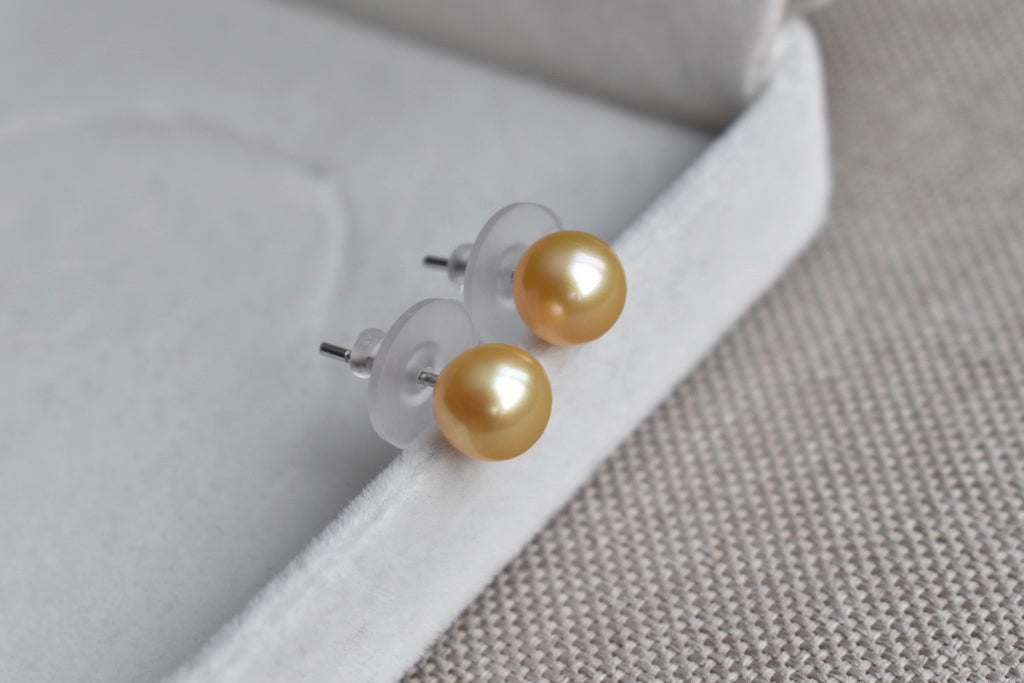 Golden South Sea Pearl Stud Earrings in 14K White Gold, 8.25mm