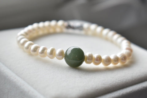 *****SOLD***** Natural Jadeite Bead and White Pearl Bracelet, 6.0-6.5mm