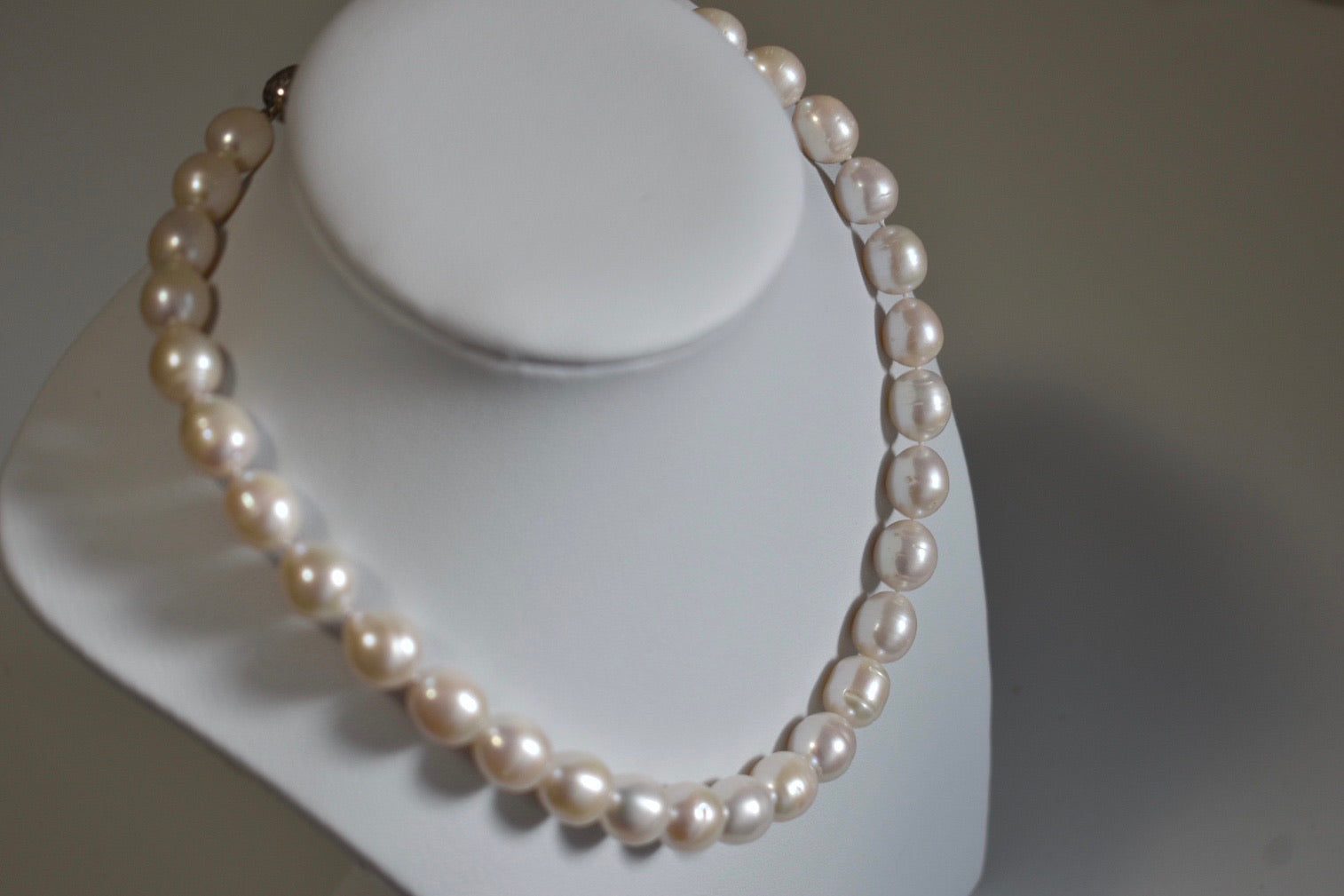 White Freshwater Oval Pearl Necklace, 10.50-11.50mm
