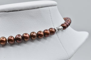 Chocolate Freshwater Oval Pearl Necklace, 7.0-7.5mm