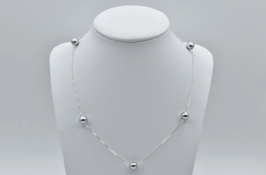 Silver Swarovski Crystal Pearl Tin Cup Backdrop Necklace in Sterling Silver