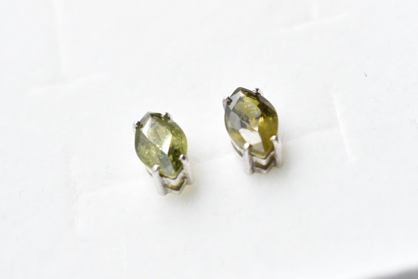 Natural Green Tourmaline Marquise Stud Earrings in 10K White Gold