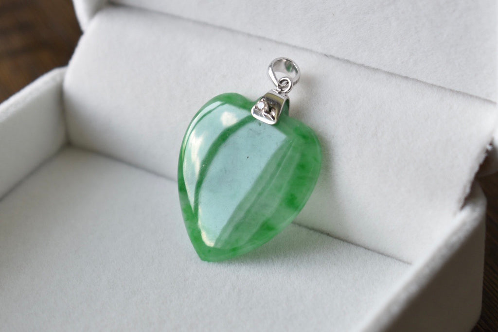 Natural Jadeite Jade Icy Green Heart and Diamond Pendant in 14K white gold