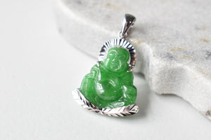 Grade A Jadeite Jade Green Happy/Laughing Buddha Pendant in 14K White Gold