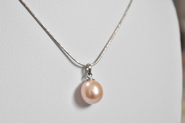 Blush Peach Freshwater Drop Pendant in 10K White Gold