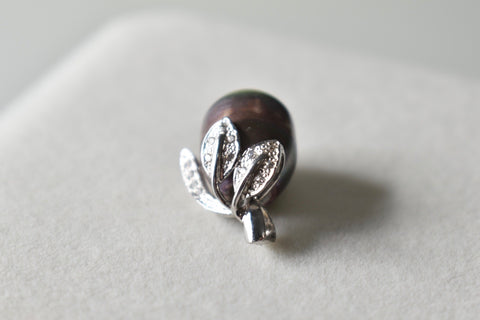 Black Freshwater Pearl and Moissanite Leaf Bail Pendant in 14K White Gold