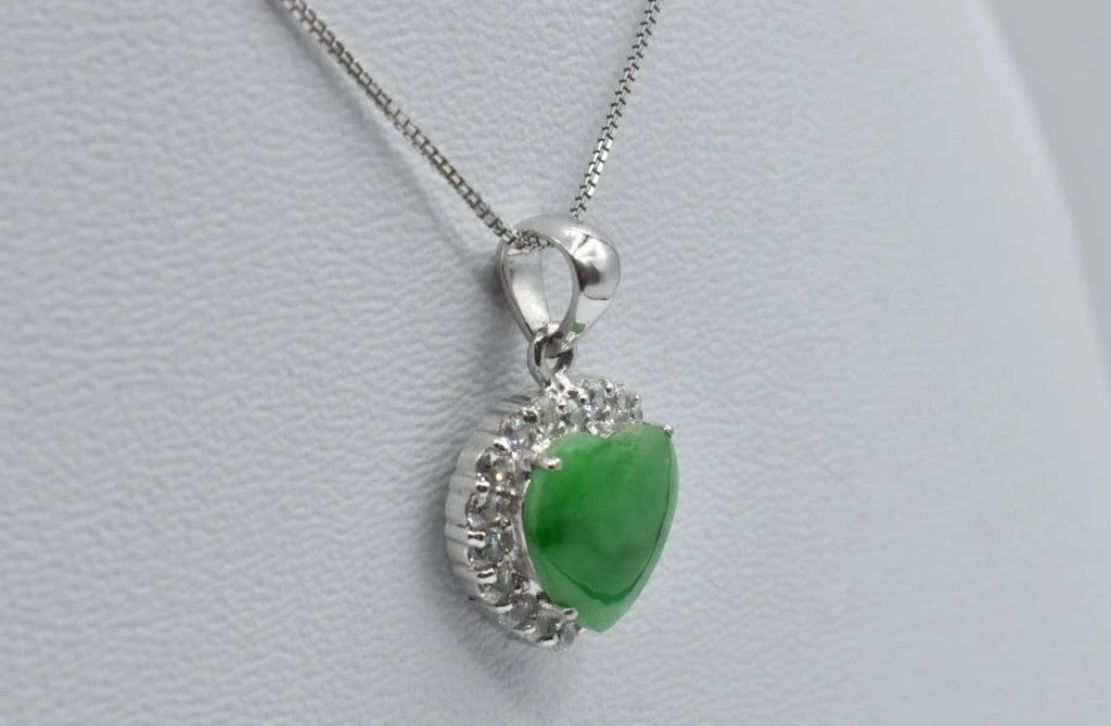 Natural Green Jadeite Jade Heart Pendant with Moissanite Halo in 14K White Gold