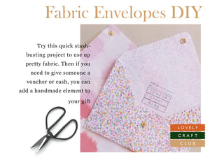 A tutorial for pretty fabric envelopes to use up your stash of fabric