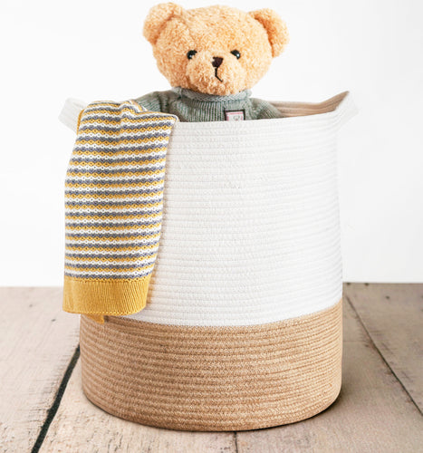 Tall Cotton Rope Storage Basket