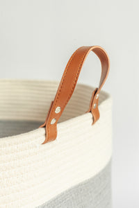 Extra Large Cotton Rope Basket with PU Leather Handles