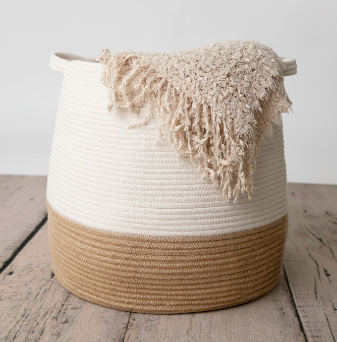 Decorative Large Belly Cotton Rope Basket