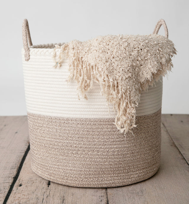 Large Cotton Rope Basket with Braided Rim and Handle