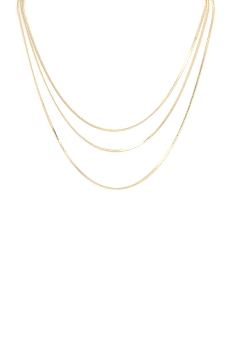 Triple Layer Herringbone Necklace