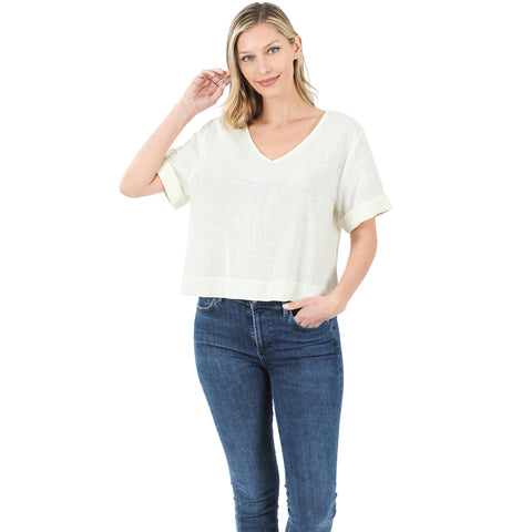 Ivy Cotton V Neck Top