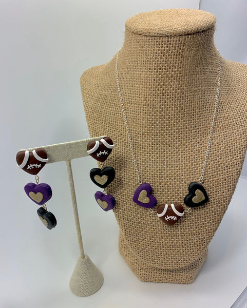 Baltimore Ravens hearts necklace