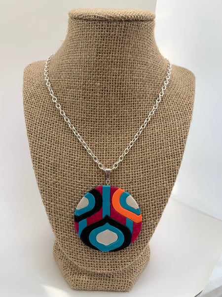 Colorful retro disco pendant necklace