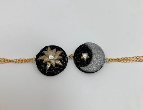 Moon and stars gold bracelet
