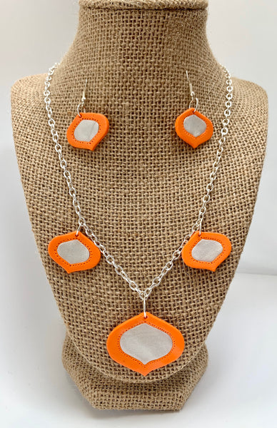 Orange and pearl necklace