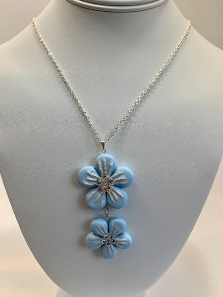 Blue Floral Long Necklace