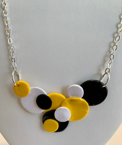 Yellow, Black & White Bubble Necklace