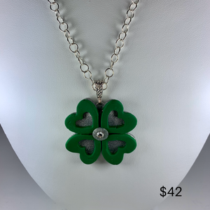 Silver sparkle shamrock necklace