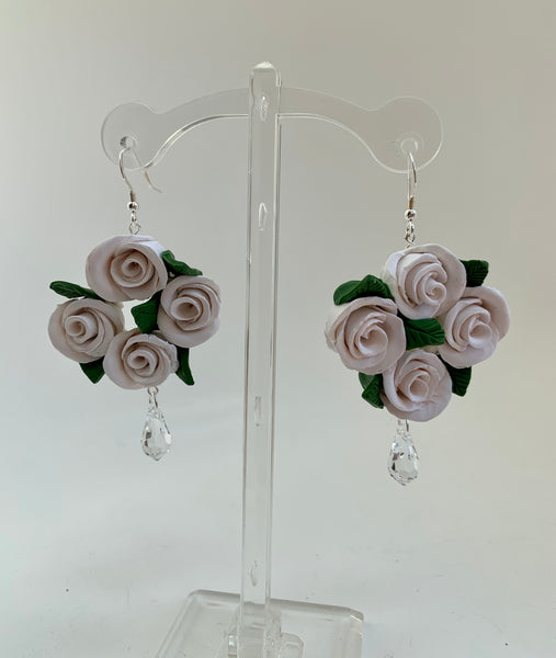 White rose and crystal earrings