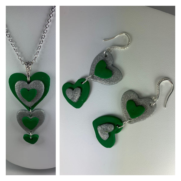 Green and silver Celtic heart earrings