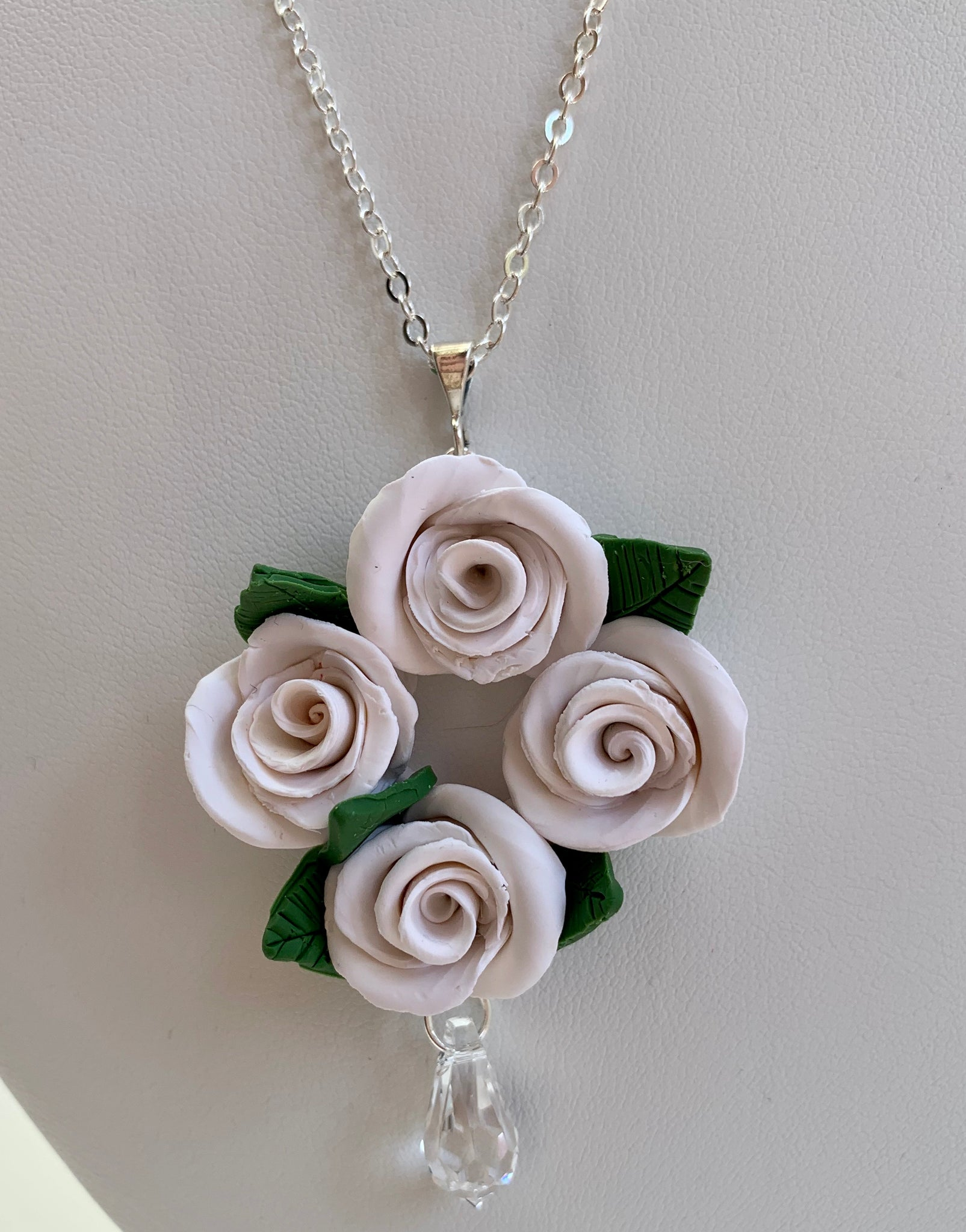 White rose and crystal necklace