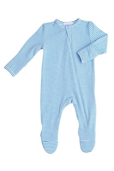 Basic Blue Stripe Zipper Footie
